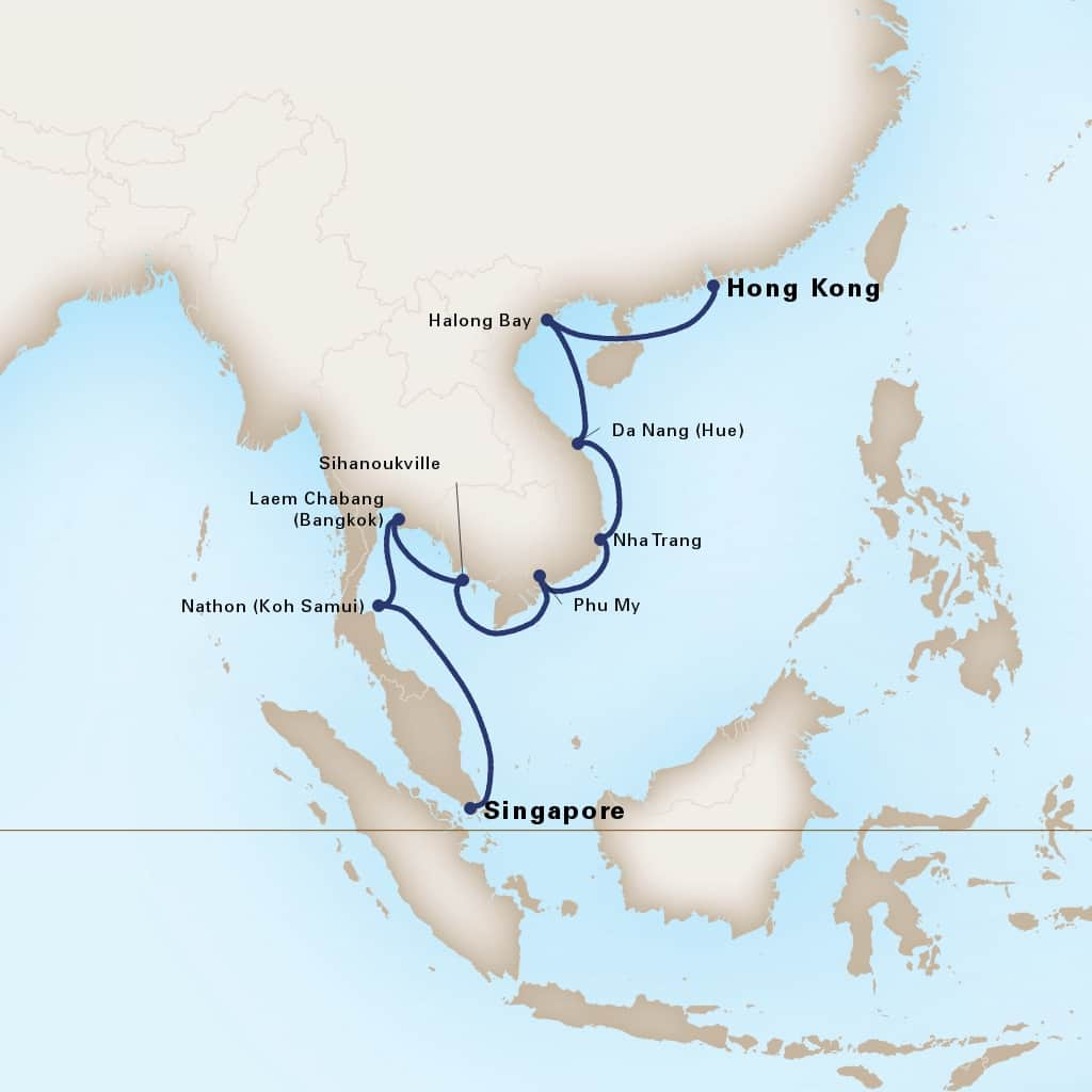 Map depicting the 14-Day Far East Discovery itinerary leaving from Singapore and arriving in Hong Kong, China.