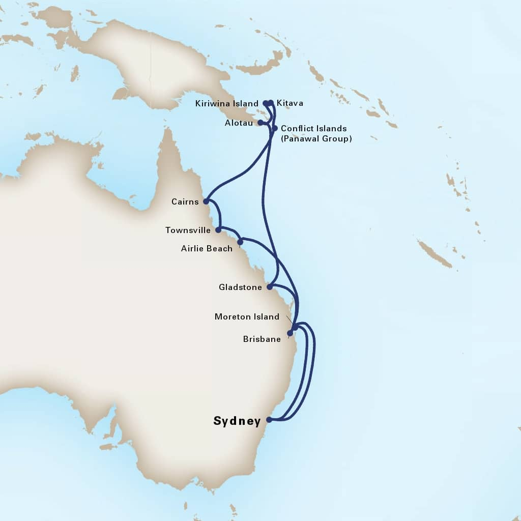 Map depicting the 17-Day Australia & Melanesia itinerary leaving from Sydney, Australia and arriving in Sydney, Australia.