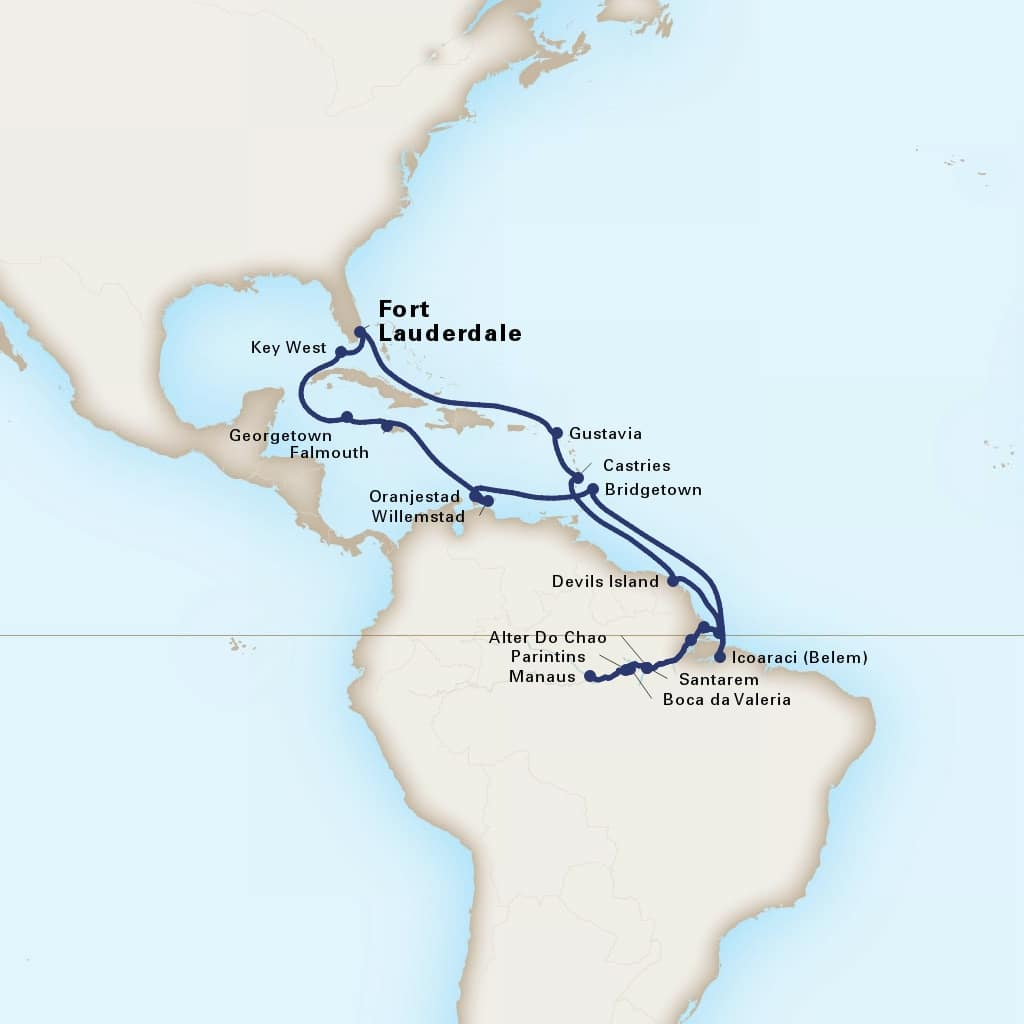 Map depicting the 30-Day Amazon Explorer itinerary leaving from Fort Lauderdale, Florida, US and arriving in Fort Lauderdale, Florida, US.