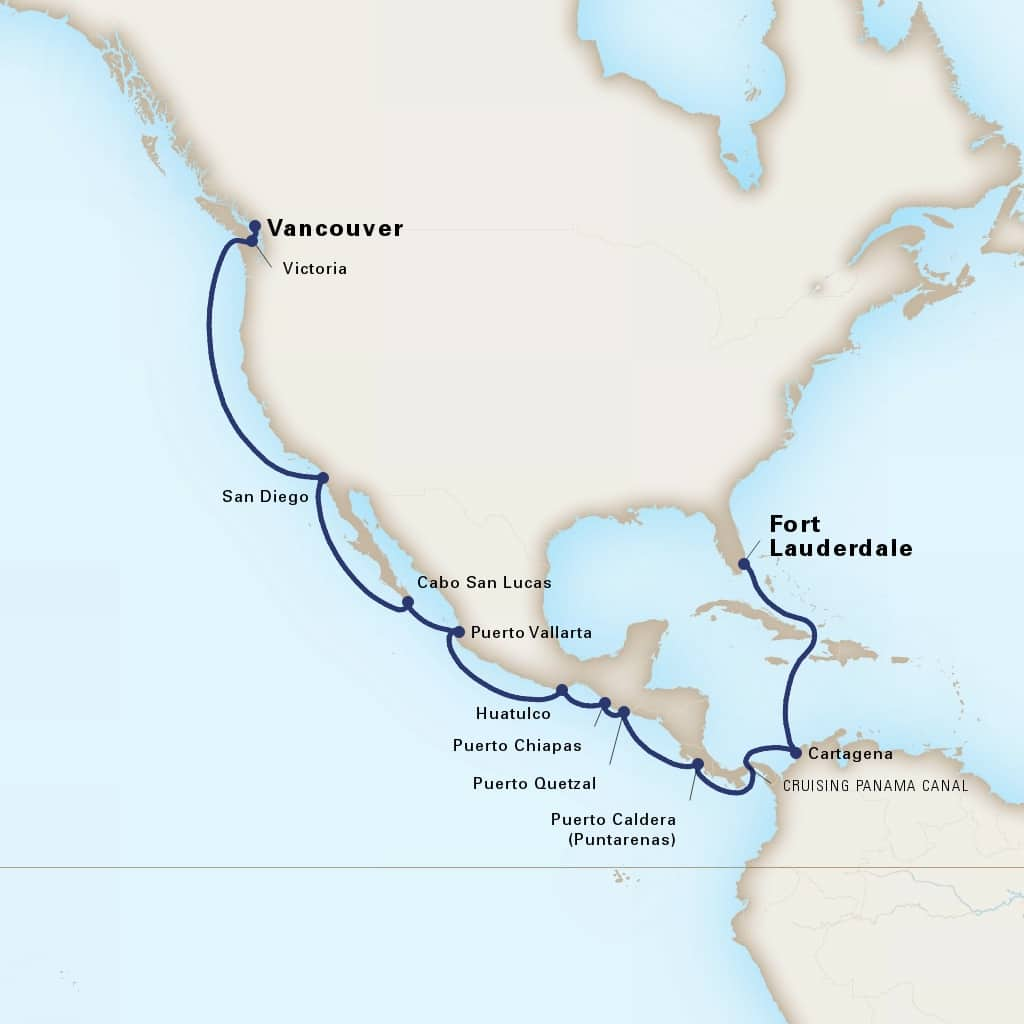 Map depicting the 19-day panama canal itinerary leaving from fort lauderdale, florida, us and arriving in vancouver, b.c., ca.