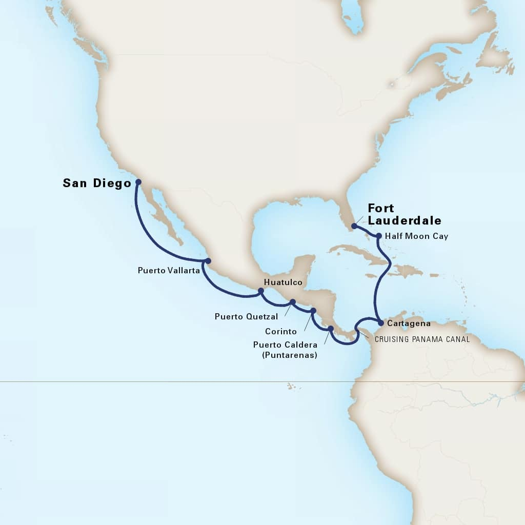 Map depicting the 15-Day Panama Canal itinerary leaving from San Diego, California, US and arriving in Fort Lauderdale, Florida, US.