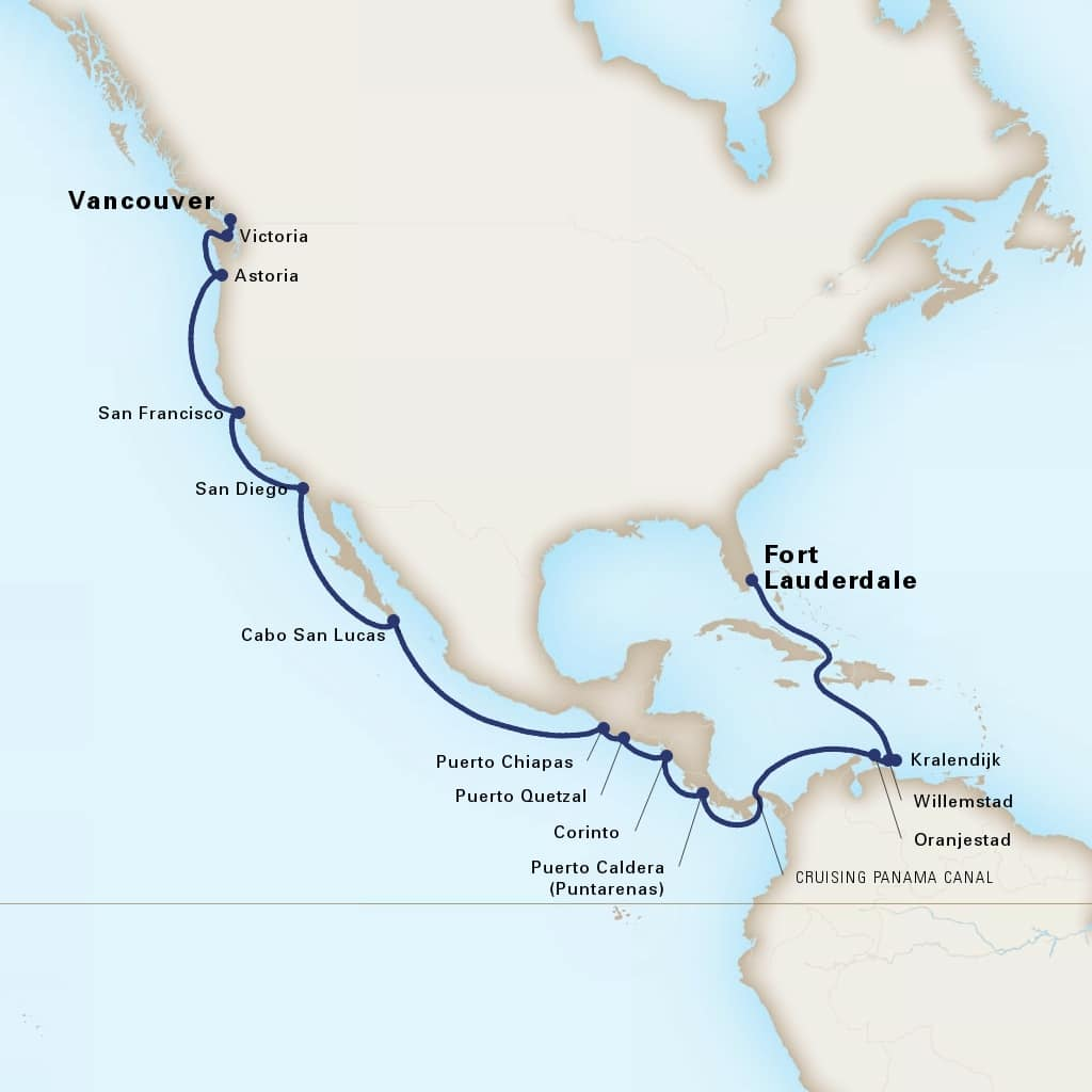 Map depicting the 23-Day Panama Canal itinerary leaving from Vancouver, B.C., CA and arriving in Fort Lauderdale, Florida, US.